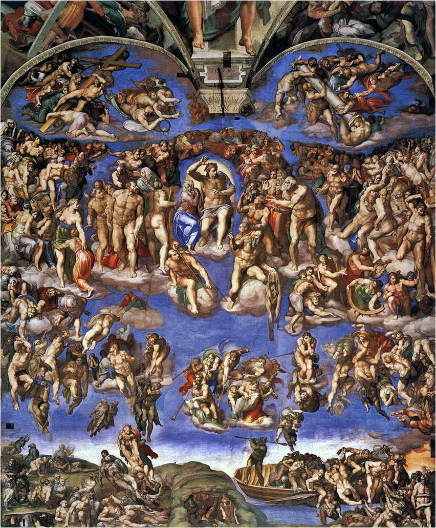 The last judgement on altar wall of the sistine chapel in vatican city